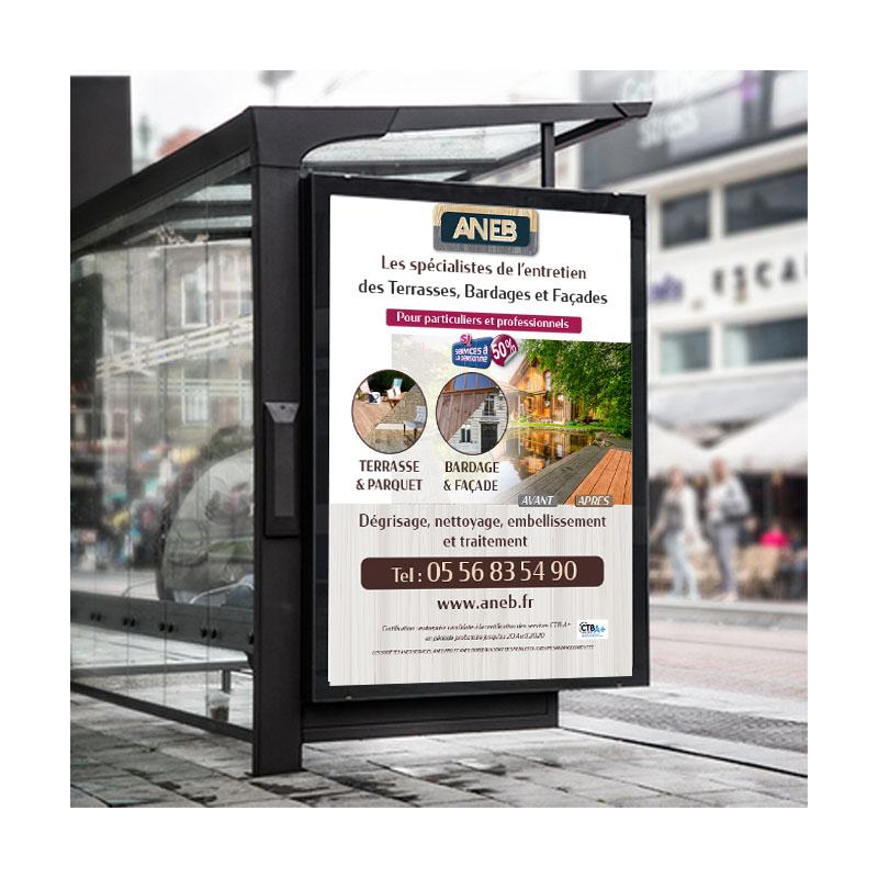 Création publicité affichage 4x3 Abribus à Bordeaux et bassin d'Arcachon - By Synap'TIC